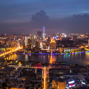 At night view from the top by Happy Sugianto - City,  Street & Park  Night ( beautiful, china, night, cityscape, liuzhou, photography, lights, guangxi, canon )
