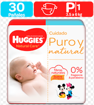 Pañales Huggies Natural Care Etapa 1/P x 30Uni