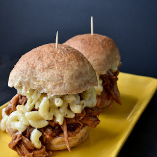 Smoked Mac and Cheese Pulled Pork Sliders.