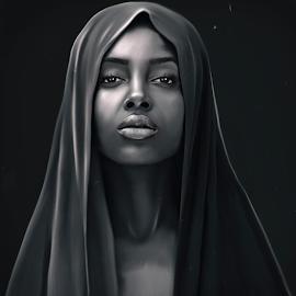 sephora by Navid Yazdani - Digital Art People ( islam, women portrait, digital painting, black and white, portrait, digital art )