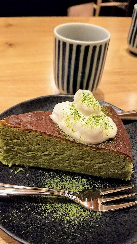 Chef Naoko's Shizuku dessert of the day, matcha souffle cheesecake