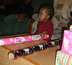 Photo: Keon finds some wrapping paper