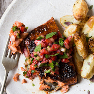 Blackened Salmon with Strawberry Cucumber Salsa