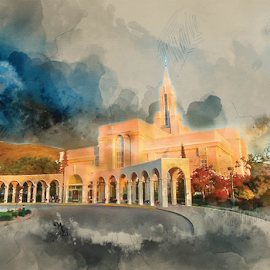 Bountiful Temple Watercolor by Valerie Aebischer - Digital Art Places ( mormon temples, lds, bountiful ut lds temple, mormon, lds temples )