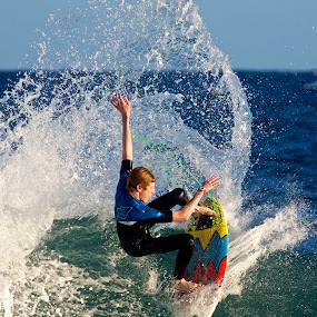 Tight turn by Julie Steele - Sports & Fitness Surfing ( spray, steele, surfer, wave )