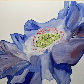 scabious by Paul Robin Andrews - Painting All Painting ( blue, art, oil painting, scabious, flower )