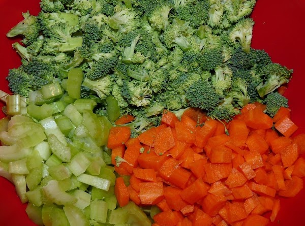 Boil 2 cups of water in a pot. Add the broccoli, carrots, and celery....