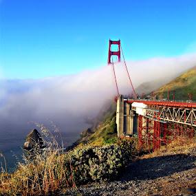 Beyound the Fog by Colleen Rohrbaugh - City,  Street & Park  Vistas ( travel, landscapes, bridges )