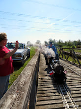 Photo: Pete Greene coming into the station while Betty Smith waves.     HALS Public Run Day 2014-0419 RPW  10:02 AM