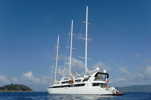 Ponant-without-sails.jpg - Drop anchor in a secluded bay and relax on the three-masted Le Ponant sailing ship.