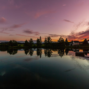 Sunset in Ullrich on the Schönteich by Franz  Adolf - Landscapes Sunsets & Sunrises ( sunset, lake, pond )