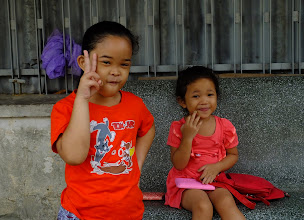 Photo: cute girls that greeted us as we walked by