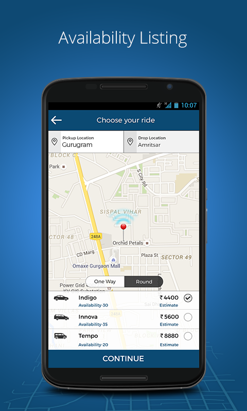 MyTaxiIndia:OutstationTaxi App- screenshot