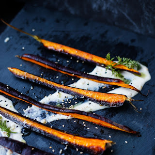Purple Carrots with Garlic Tahini & Carrot Top Oil