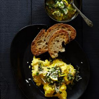 Scrambled Eggs with Meyer Lemon Salsa Verde