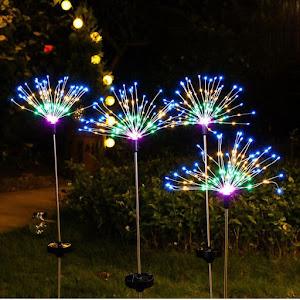 Lampa solara artificii cu suport metalic, 100 LED, multicolor