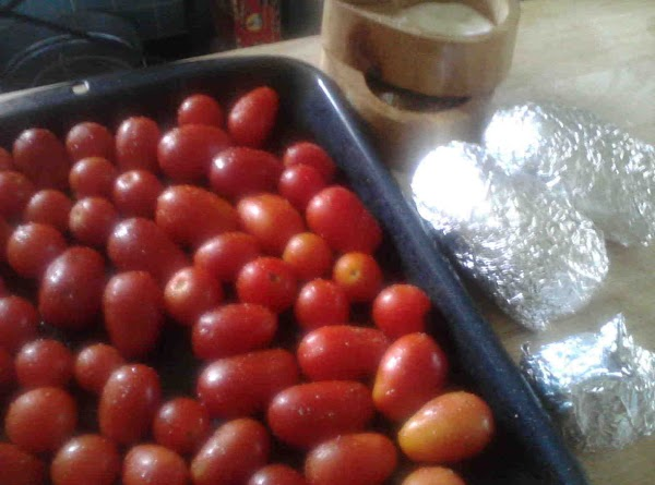 Clean and place tomatoes on pan, drizzle with olive oil and S&P.Broil tomatoes for...