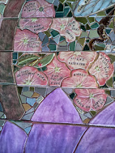 Photo: Saturday, July 20, 2013 Hidden Garden Steps ceramic-tile mosaic preview at St. John of God community hall in San Francisco's Inner Sunset District: Detail from third flight of stairs from the bottom of the Hidden Garden Steps. Project artists Aileen Barr and Colette Crutcher completed this as part of the 148-step mosaic to be installed on 16th Avenue, between Kirkham and Lawton streets in San Francisco. For more information about the Hidden Garden Steps project, please visit http://hiddengardensteps.org.