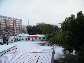 Photo: first snow of winter 2010: QRRS Dorms in snow.