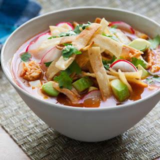 Chicken Tortilla Soup with Hominy, Avocado & Queso Fresco