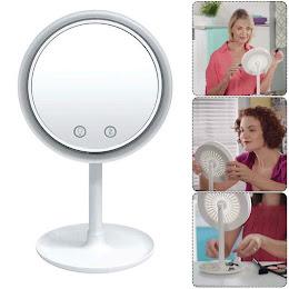 Oglinda LED pentru machiaj, cu ventilator inclus