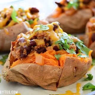 Turkey Chili Smothered Sweet Potatoes.