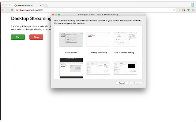 cine.io Screen Sharing