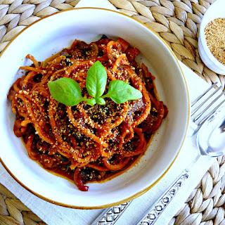 Grain-free slow cooked Spaghetti Bolognase (vegan)