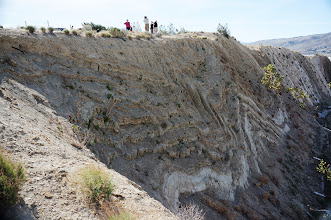 Photo: Exposure of deeply folded Pliocene Anaverde shale and gypsiferous siltstone deposited in an ancient lakebed