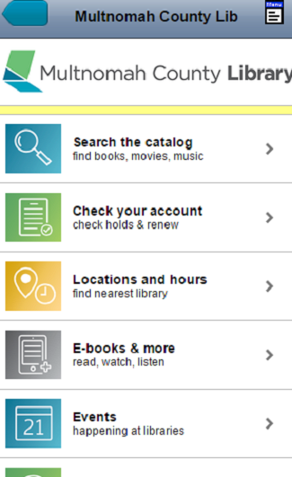 Multnomah County Library- screenshot