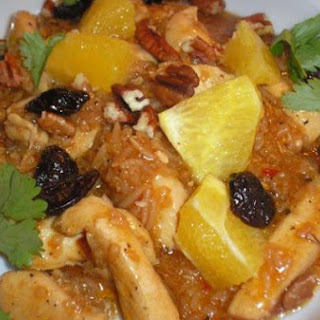 Chicken and Rice Stir-Fry with Fresh Orange, Dried Cherries, and Pecans