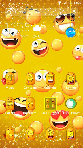 Lovely Emoji APUS Launcher theme app (apk) free download for