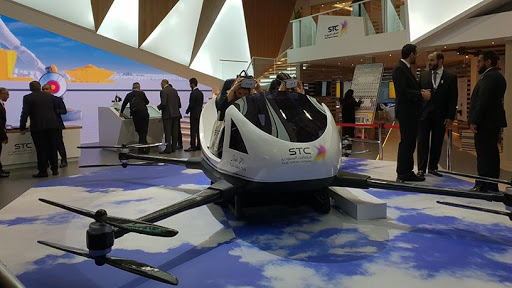 Virtual reality in action at the Saudi Telecom stand.