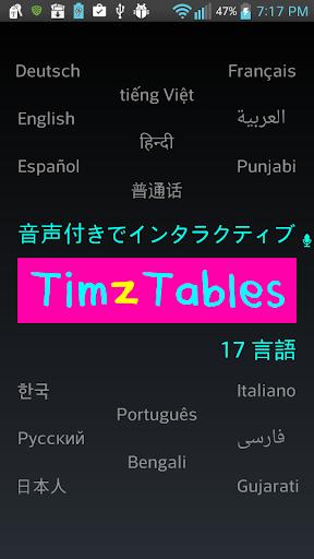 TimzTables 2-12 掛け算の九九