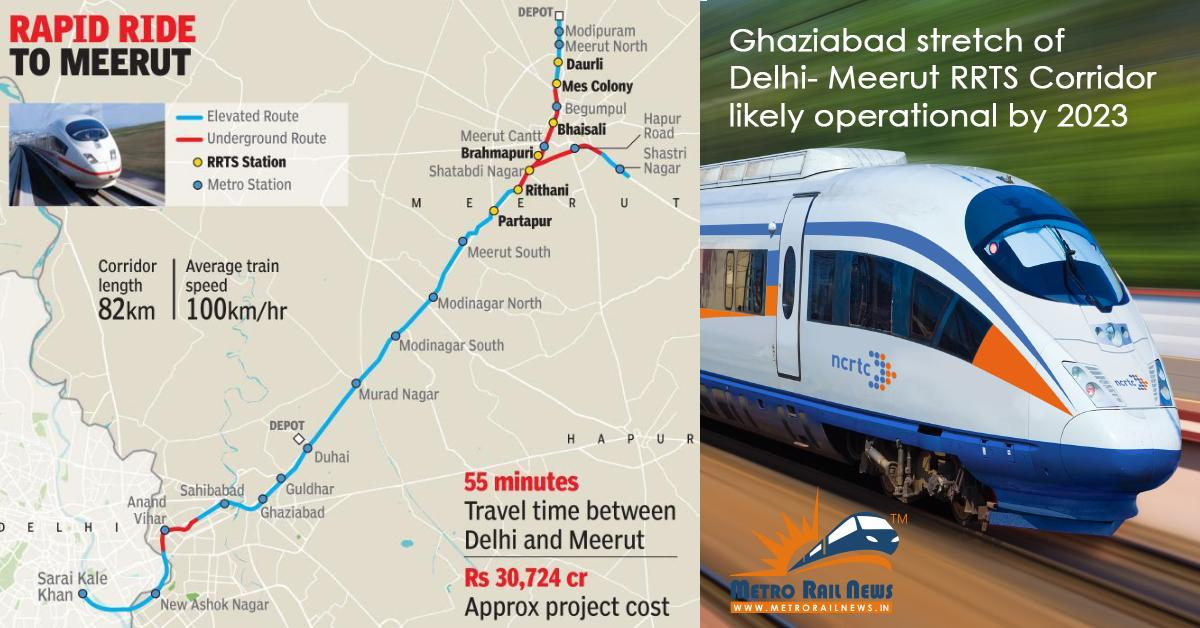 Ghaziabad section of Delhi-Meerut RRTS Corridor likely to be operational by  2023 - Metro Rail News