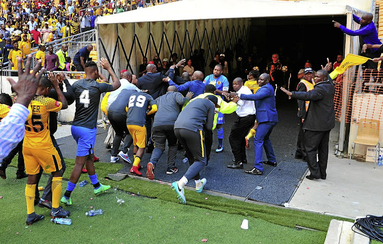 Kaizer Chiefs fans pelt the players with missiles after the match following their humiliating 3-0 home Absa Premiership loss against Chippa United at FNB Stadium.