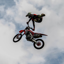 Leap of faith by Andrew Lancaster - Transportation Motorcycles ( motorcycle, sky, stunt, mad, beautiful, beauty, helmet, action, leap, bike )