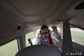 Photo: Anders i baksetet med GoPro under avgang fra Lydd.