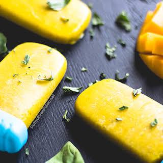 Mango Basil Popsicles.