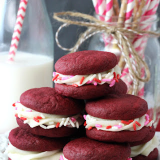 Red Velvet Cookie Sandwiches.