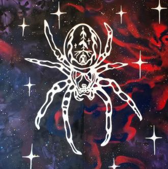 White spider painting with stars overlaid a red, blue, and white galaxy-like background.