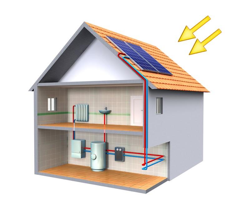 Schemat instalacji kolektorów słonecznych