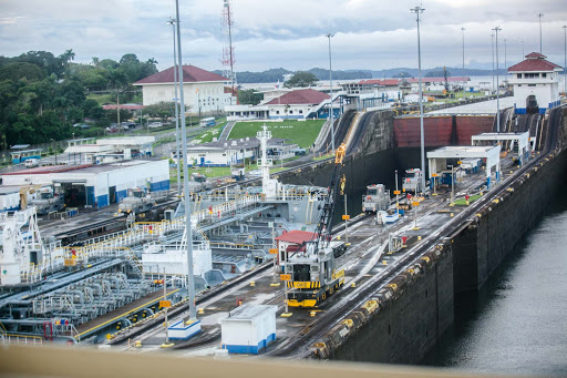 panama-canal-cargo-ship.jpg - A cargo ship in the left locks begins a transit of the Panama Canal.