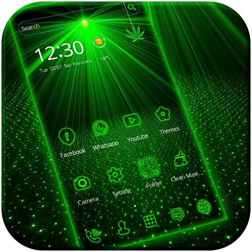 Laser light green tech Theme file APK for Gaming PC/PS3/PS4 Smart TV