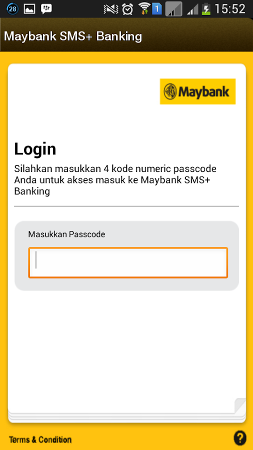 Maybank SMS+ Banking- screenshot