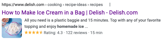 Screenshot displaying a video search result's title, description, and thumbnail (among other things)