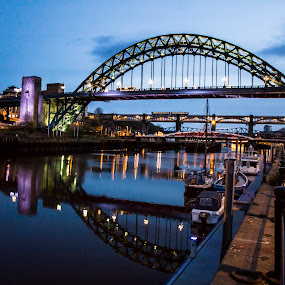 Tyne Bridge reflections by Davey T - Buildings & Architecture Bridges & Suspended Structures ( waterscape, river tyne, tyne, quayside, high level bridge, tyneside, gateshead, newcastle, architecture )