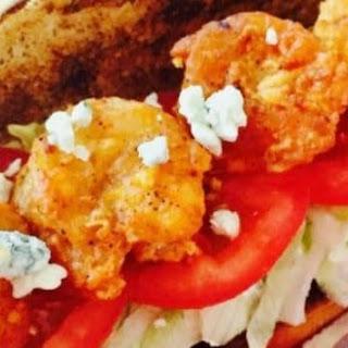 Spicy Buffalo Shrimp Po' Boy Sandwich.