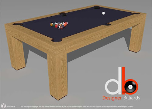 a 3D drawing of a billiard table with blue felt on it