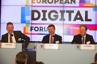 Photo: Geoff Mulgan, chief executive of Nesta; Andrus Ansip, vice-president of the European Commission for the digital single market; Paul Hofheinz, president and co-founder of the Lisbon Council and director of the European Digital Forum